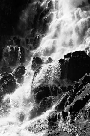 Black & White Horsetail Creek Waterfall