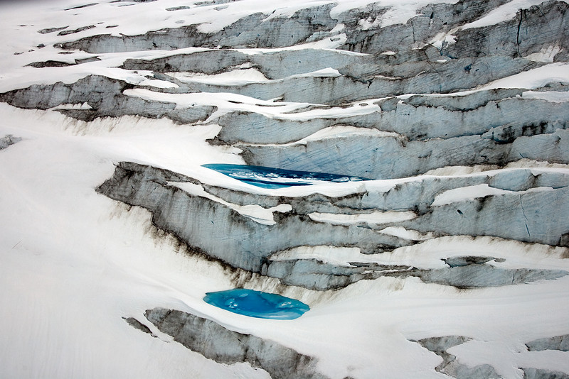 Aerial view of glacier from helicopter