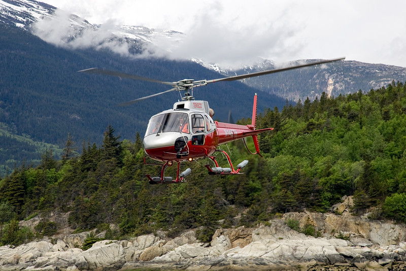 Helicopter ride to dog mush camp atop glacier