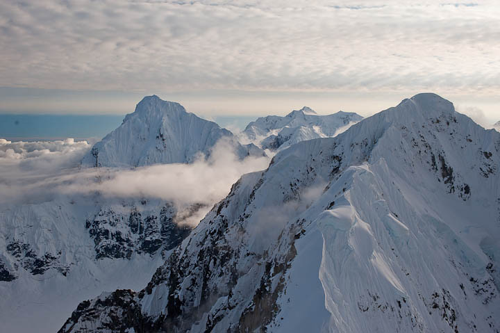 Aerial photography of the mountains surrounding McKinley in Alaska.