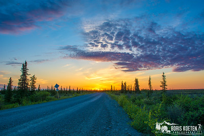 Sunset over the tundra near King Salmon, Alaska