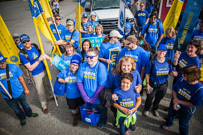 UAF students, staff, faculty, alumni and administrators take part in the 2016 Golden Days parade.  Filename: AKA-16-4939-52.jpg