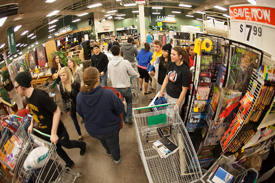 Students stock up on items during Fred Meyer's Midnight Extravaganza Wednesday morning, August 29, 2012.  Filename: AKA-12-3520-9.jpg