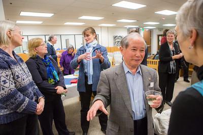 Syun-Ichi Akasofu, Professor of Physics, Emeritus, speaks with Sherry Modrow after a ceremony commemorating the late Sen. Ted Stevens' 90th birthday, Nov. 18, 2013, at the Rasmuson Library.  Filename: AKA-13-4001-84.jpg