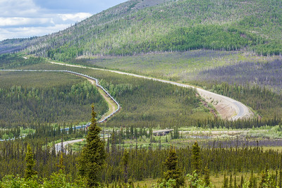 The Dalton Highway parallels the trans-Alaska pipeline as it stretches north to Alaska's arctic coast.  Filename: AKA-14-4213-042.jpg