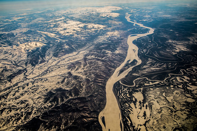 The Yukon River winds through the western interior of Alaska in early April.  Filename: AKA-16-4863-010.jpg