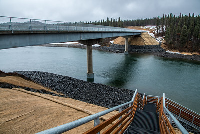 A bridge completed in 2015 spans the Wood River in Alaska's Bristol Bay region and connects the village of Aleknagik with a road to Dillingham about 15 miles away.  Filename: AKA-16-4860-505.jpg