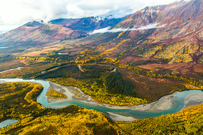 Boreal forest mountain ridge and river valley somewhere north of Fairbanks in early September.  Filename: AKA-13-3929-115.jpg