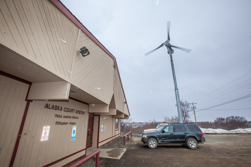 "A wind-powered turbine, monitored by students and staff at UAF's Bristol Bay Campus in Dillingham, helps provide energy to the local court house.  <div class=""ss-paypal-button"">Filename: AKA-12-3390-140.jpg</div><div class=""ss-paypal-button-end"" style=""""></div>"
