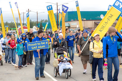 More than 200 UAF students, staff, faculty and administrators turned out to participate in the 2013 Golden Days parade through downtown Fairbanks.  Filename: AKA-13-3886-173.jpg