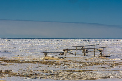 Fish drying racks adorn the beach just east of Nome, site of UAF's Northwest Campus.  Filename: AKA-16-4865-139.jpg