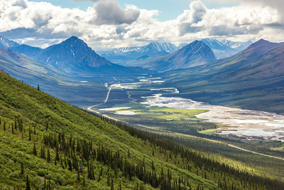 This photo looks south down the Dietrich River valley as it parallels the Dalton Highway and Trans-Alaska Pipeline through the southern Brooks Range.  Filename: AKA-14-4219-059.jpg