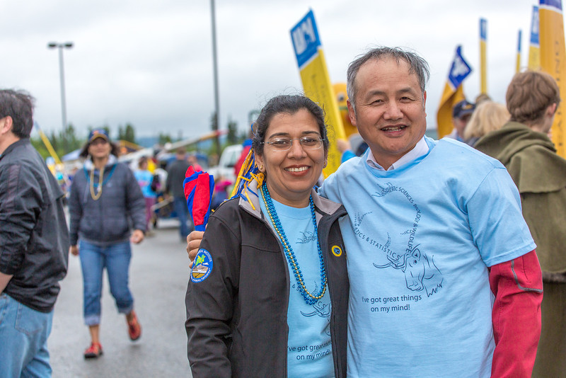 """More than 200 UAF students, staff, faculty and administrators turned out to participate in the 2013 Golden Days parade through downtown Fairbanks.  <div class=""""ss-paypal-button"""">Filename: AKA-13-3886-85.jpg</div><div class=""""ss-paypal-button-end"""" style=""""""""></div>"""