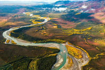Boreal forest mountain ridge and river valley somewhere north of Fairbanks in early September.  Filename: AKA-13-3929-111.jpg
