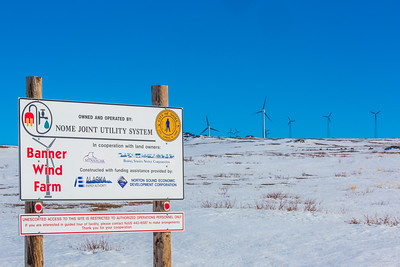 A series of wind generators helps provide electricity to the residents of Nome, on Alaska's Seward Peninsula.  Filename: AKA-16-4865-115.jpg