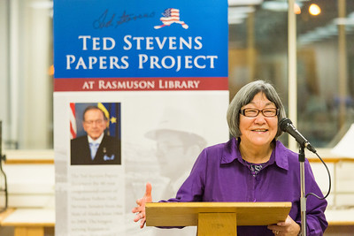 Marie Matsuno Nash, a former staff member of the late Sen. Ted Stevens speaks to a small crowd during a ceremony commemorating the senator's 90th birthday at the Rasmuson Library.  Filename: AKA-13-4001-53.jpg