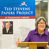 "Marie Matsuno Nash, a former staff member of the late Sen. Ted Stevens speaks to a small crowd during a ceremony commemorating the senator's 90th birthday at the Rasmuson Library.  <div class=""ss-paypal-button"">Filename: AKA-13-4001-53.jpg</div><div class=""ss-paypal-button-end"" style=""""></div>"