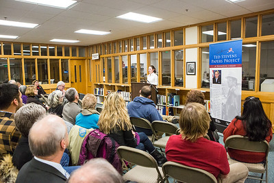 """UAF Northern Studies graduate student Susannah Dowds speaks to an audience on """"Mapping Alaska,"""" an exhibit the late Sen. Ted Steven's career after a ceremony commemorating the senator's 90th birthday at the Rasmuson Library.  Filename: AKA-13-4001-136.jpg"""