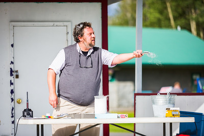 Attendees of the 2016 Tanana Valley State Fair receive a physics demonstration from Professor David Newman.  Filename: AKA-16-4953-110.jpg