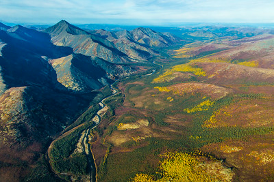 Boreal forest mountain ridge and river valley somewhere north of Fairbanks in early September.  Filename: AKA-13-3929-93.jpg