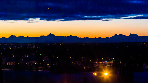 A December dawn breaks over the Alaska Range as seen from the University of Alaska Fairbanks campus.  Filename: AKA-13-4024-4.jpg