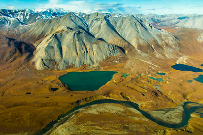 Small lakes and rivers are seen throughout Alaska's Arctic Plain, north of the Brooks Range.  Filename: AKA-13-3929-155.jpg