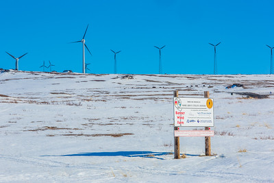 A series of wind generators helps provide electricity to the residents of Nome, on Alaska's Seward Peninsula.  Filename: AKA-16-4865-113.jpg