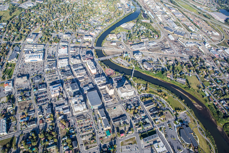 "Downtown Fairbanks seen from about 2000 feet on a summer morning.  <div class=""ss-paypal-button"">Filename: AKA-12-3497-365.jpg</div><div class=""ss-paypal-button-end"" style=""""></div>"