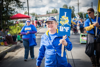 UAF Provost Susan Henrichs participates in the 2016 Golden Days parade along with students, staff, faculty and alumni.  Filename: AKA-16-4939-151.jpg