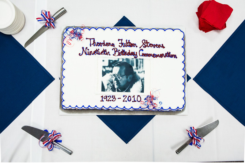"""The cake commemorating the late Sen. Ted Stevens' 90th birthday is left untouched before the ceremony at the Rasmuson Library.  <div class=""""ss-paypal-button"""">Filename: AKA-13-4001-5.jpg</div><div class=""""ss-paypal-button-end"""" style=""""""""></div>"""