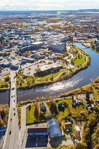 An aerial view of downtown Fairbanks.  Filename: AKA-14-4312-052.jpg