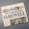 """Photo of the final copy of the Anchorage Times newspaper, used in the spring 2013 issues of Aurora magazine.  <div class=""""ss-paypal-button"""">Filename: AKA-13-3766-06.jpg</div><div class=""""ss-paypal-button-end"""" style=""""""""></div>"""