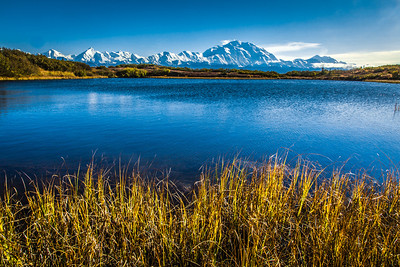 Mt. McKinley and Wonder Lake are scene amidst autumn splendor in Denali National Park and Preserve.  Filename: AKA-13-3942-319.jpg