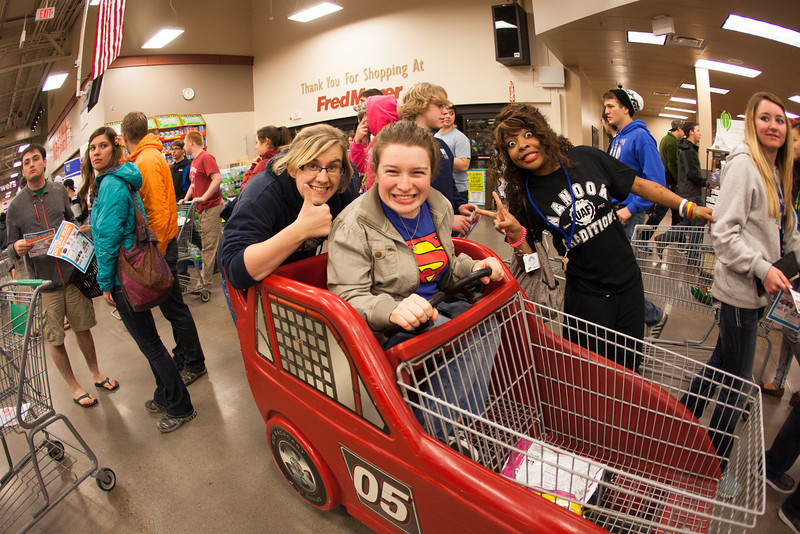 "Students stock up on items during Fred Meyer's Midnight Extravaganza Wednesday morning, August 29, 2012 during New Student Orientation.  <div class=""ss-paypal-button"">Filename: AKA-12-3520-4.jpg</div><div class=""ss-paypal-button-end"" style=""""></div>"