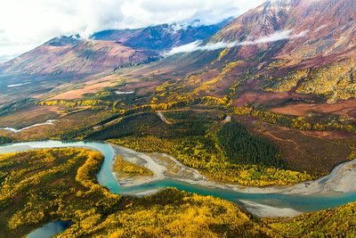 Boreal forest mountain ridge and river valley somewhere north of Fairbanks in early September.  Filename: AKA-13-3929-114.jpg