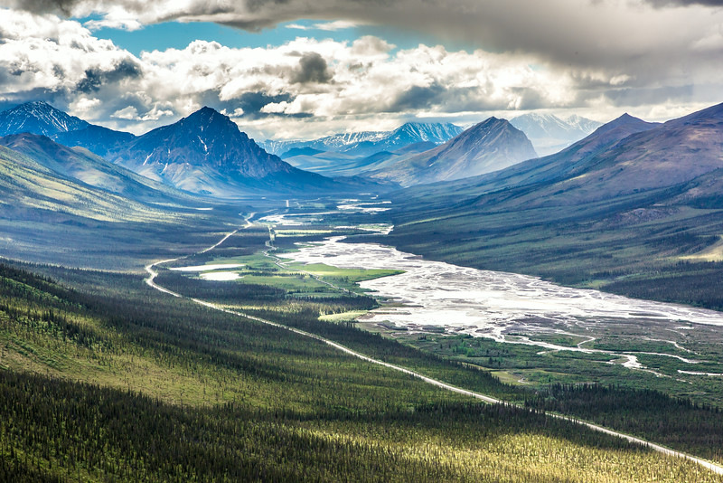 """This photo looks south down the Dietrich River valley as it parallels the Dalton Highway and Trans-Alaska Pipeline through the southern Brooks Range.  <div class=""""ss-paypal-button"""">Filename: AKA-14-4219-025.jpg</div><div class=""""ss-paypal-button-end""""></div>"""