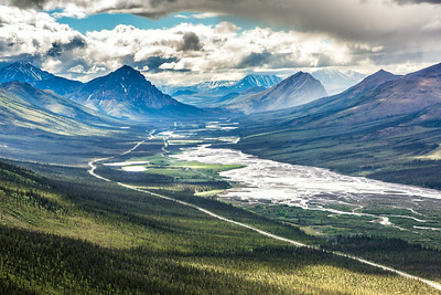 This photo looks south down the Dietrich River valley as it parallels the Dalton Highway and Trans-Alaska Pipeline through the southern Brooks Range.  Filename: AKA-14-4219-025.jpg