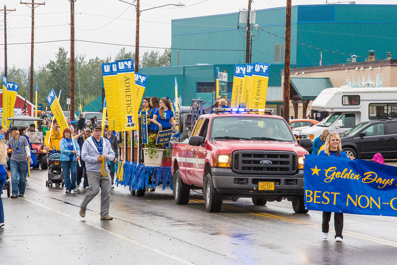 "The UAF contingent heads out of the Carlson Center lot near the start of the 2012 Golden Days parade.  <div class=""ss-paypal-button"">Filename: AKA-12-3472-14.jpg</div><div class=""ss-paypal-button-end"" style=""""></div>"