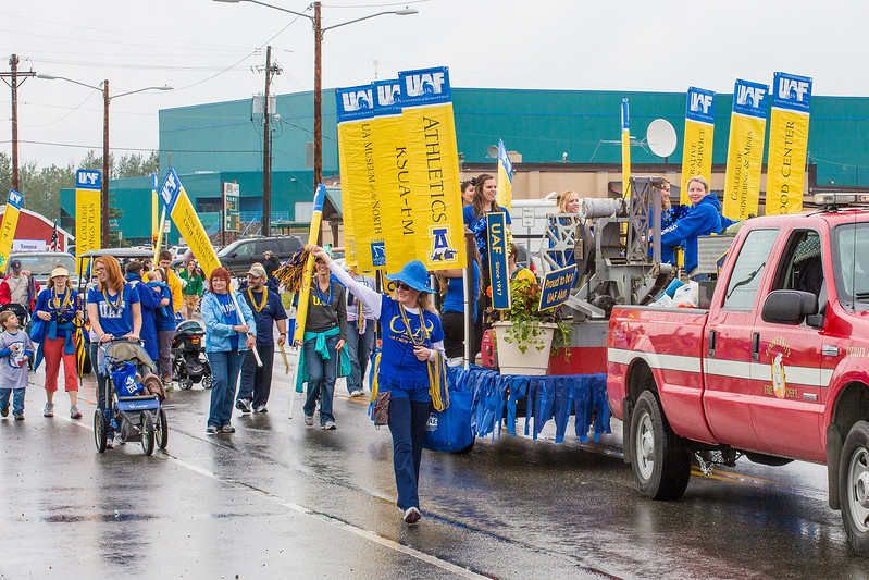 """The UAF contingent heads out of the Carlson Center lot near the start of the 2012 Golden Days parade.  <div class=""""ss-paypal-button"""">Filename: AKA-12-3472-15.jpg</div><div class=""""ss-paypal-button-end"""" style=""""""""></div>"""