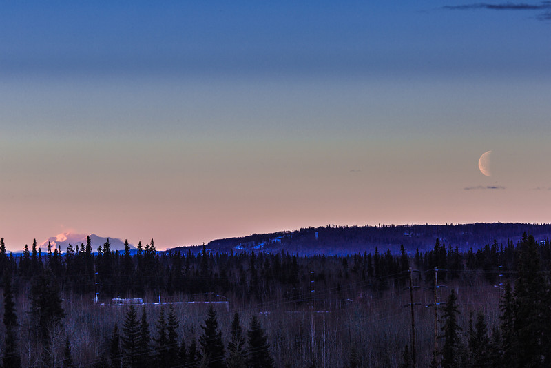 "The moon and Denali visible from the Fairbanks campus on a January morning.  <div class=""ss-paypal-button"">Filename: AKA-14-4046-5.jpg</div><div class=""ss-paypal-button-end"" style=""""></div>"