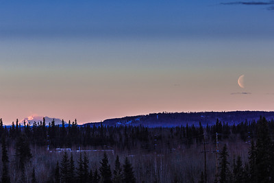 The moon and Denali visible from the Fairbanks campus on a January morning.  Filename: AKA-14-4046-5.jpg