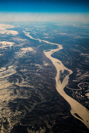 The Yukon River winds through the western interior of Alaska in early April.  Filename: AKA-16-4863-023.jpg