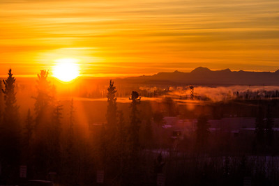The sun rises over the Tanana Valley about 10:15 on a cold November morning.  Filename: AKA-12-3663-21.jpg