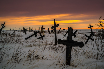 The Kotzebue town cemetery rests on a hill overlooking the airport runway and the rest of town.  Filename: AKA-16-4863-282.jpg