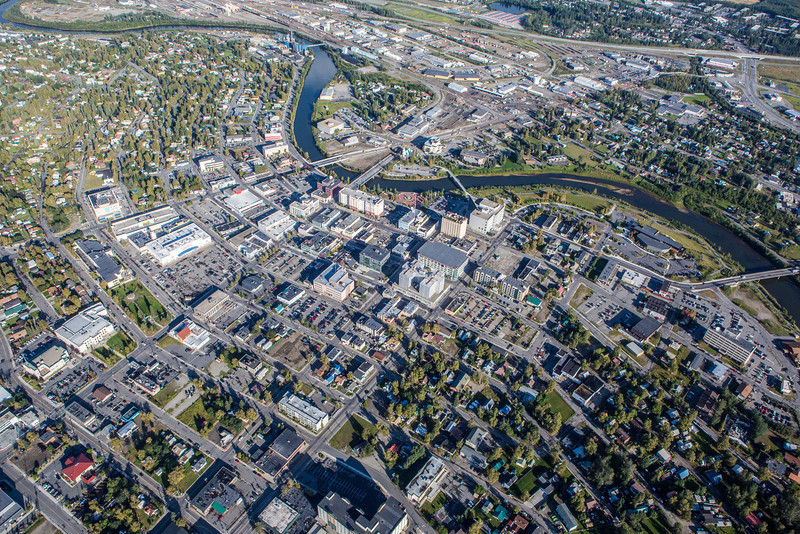 "Downtown Fairbanks seen from about 2000 feet on a summer morning.  <div class=""ss-paypal-button"">Filename: AKA-12-3497-372.jpg</div><div class=""ss-paypal-button-end"" style=""""></div>"