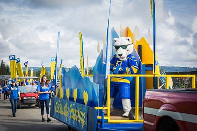 The Nook dances on board UAF's 2016 Golden Days parade float as UAF students, staff, faculty, alumni and administrators participate in representing the university.  Filename: AKA-16-4939-108.jpg