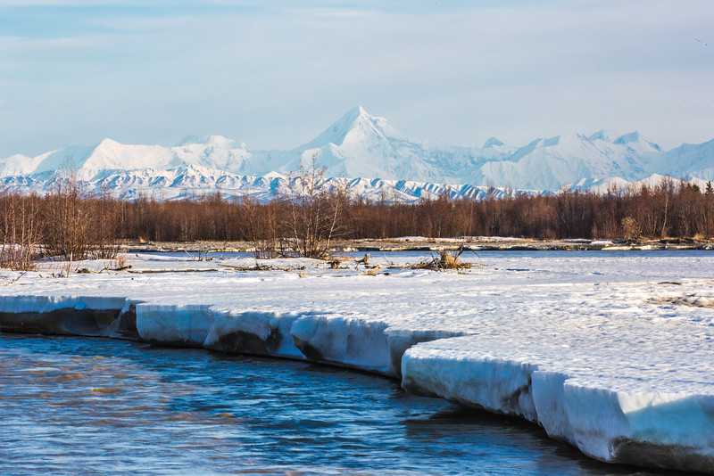 "Mt. Hayes is towers above the Tanana River as the ice breaks off in chunks in mid-May near Delta Junction.  <div class=""ss-paypal-button"">Filename: AKA-13-3845-147.jpg</div><div class=""ss-paypal-button-end"" style=""""></div>"