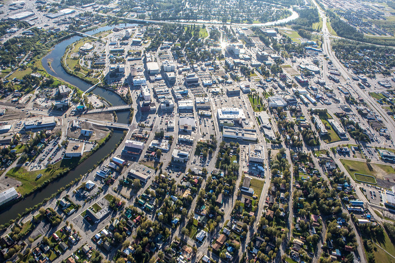 "Downtown Fairbanks seen from about 2000 feet on a summer morning.  <div class=""ss-paypal-button"">Filename: AKA-12-3497-396.jpg</div><div class=""ss-paypal-button-end"" style=""""></div>"