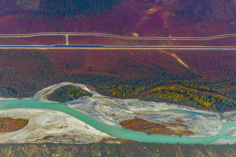 "The Trans-Alaska pipeline, top, runs mostly parallel to the Dalton Highway, which parallels the Dietrich River for a stretch near the southern Brooks Range.  <div class=""ss-paypal-button"">Filename: AKA-13-3929-132.jpg</div><div class=""ss-paypal-button-end""></div>"