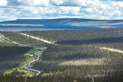 The Dalton Highway parallels the trans-Alaska pipeline as it stretches north through Alaska's interior boreal forest to the arctic coast.  Filename: AKA-14-4213-220.jpg